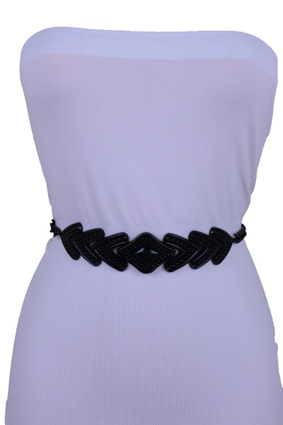 Women Hip High Waist Black Metal Chain Skinny Belt Arrowhead Charm Buckle Adjustable Size Band M L XL