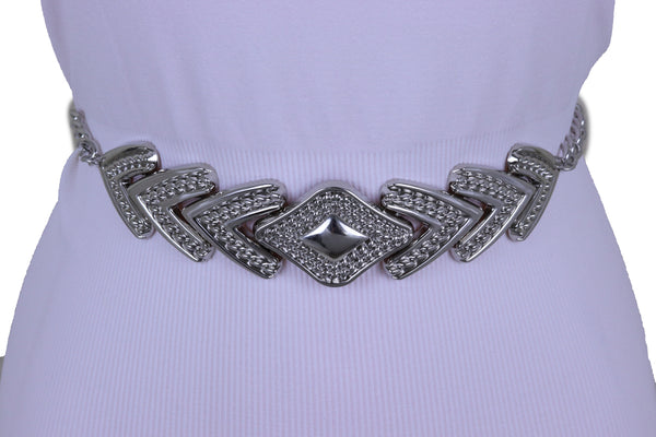 Brand New Women Fashion Fancy Belt Hip Waist Silver Metal Chain Arrowhead Buckle M L XL