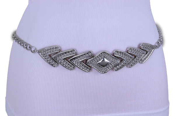 Women Fashion Belt Hip Waist Silver Metal Chain Arrowhead Charm Buckle Adjustable Band Size XS S M