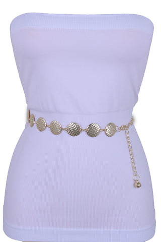 Black Tie Indian Fashion Belt Beads Gold Coin Charms Hip High Waist New Women Accessories XS S M