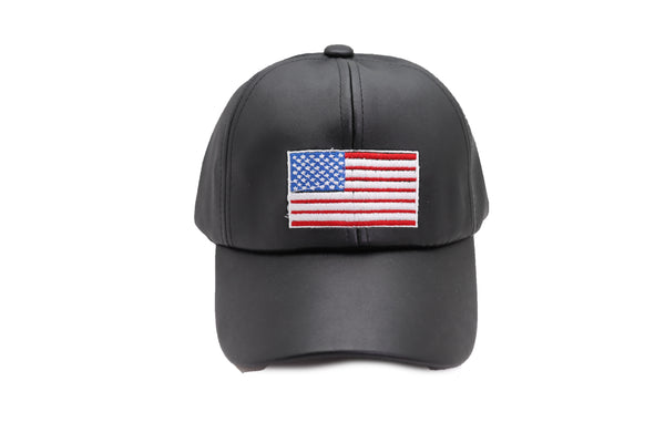 Brand New Women Men Baseball Cap Hat Black Faux Leather Fabric Casual Style Fashion USA Flag