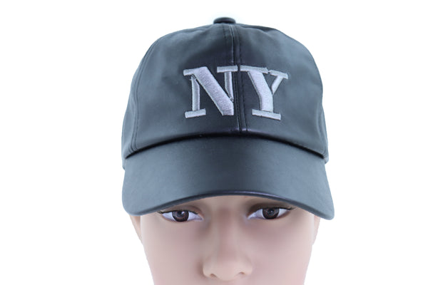 New Men Women Black Faux Leather Fashion Baseball Cap NY Hat New York Adjustable Band One Size