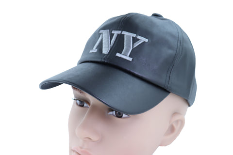 Brand New Men Women Black Faux Leather Fashion Baseball Cap NY Hat New York One Size