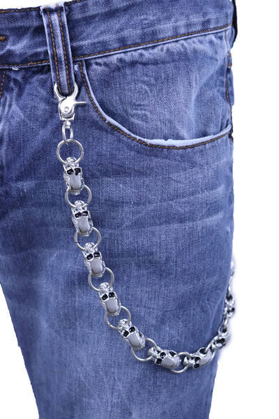 Men Biker Key Wallet Chain Ring Silver Metal Skull Skeleton Charms Clasp Jeans Gothic Style
