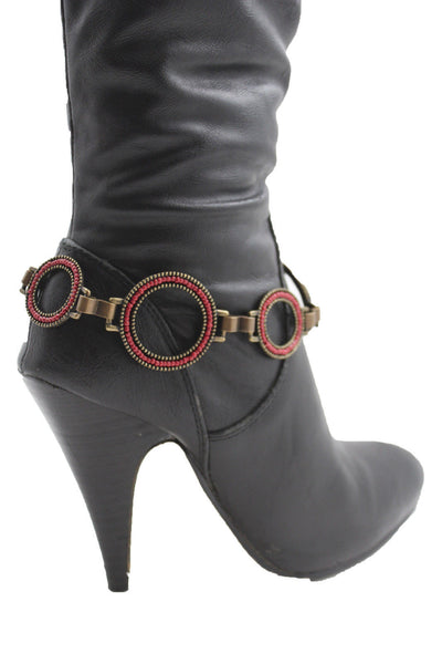 Antique Gold Red Dark Silver Black Rings Anklet Bling Shoe Charm New Women Boot Bracelet Metal Chain - alwaystyle4you - 14