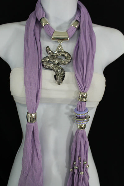 Women Lavender Fashion Scarf Fabric Silver Metal Snake Pendant Necklace Lilac - alwaystyle4you - 1