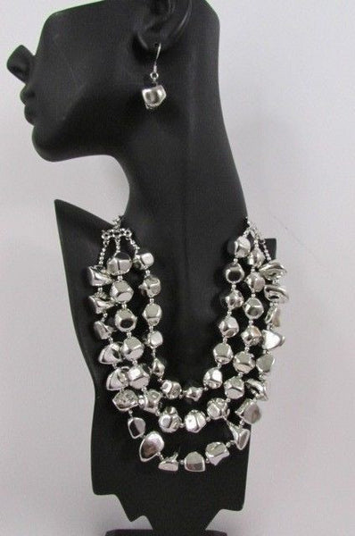Long Shiny Silver Plastic Beads 3 Strands Fashion Necklace + Earring Set New Women - alwaystyle4you - 6
