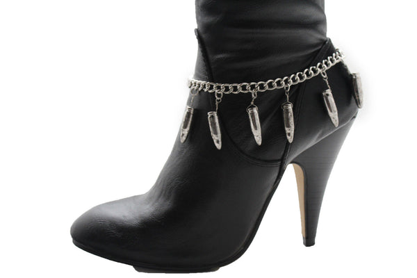 Silver Metal Boot Chain Bracelet Multi Gun Bullets Anklet Shoe Charm New Women Fashion Jewelry - alwaystyle4you - 7