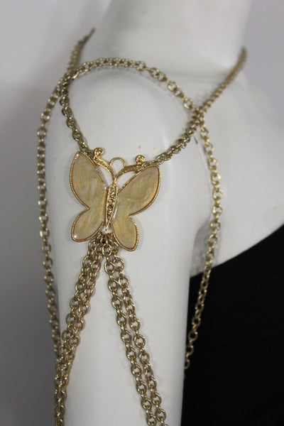 New Women Shoulder Chain Gold Metal Big Butterfly Necklace Body Jewelry Harness - alwaystyle4you - 1