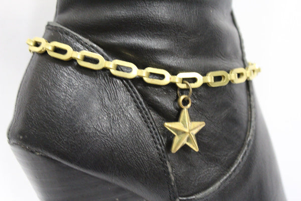 Gold Metal Chain links Mini Star Anklet Shoe Charm New Women Western Boot Bracelet - alwaystyle4you - 1