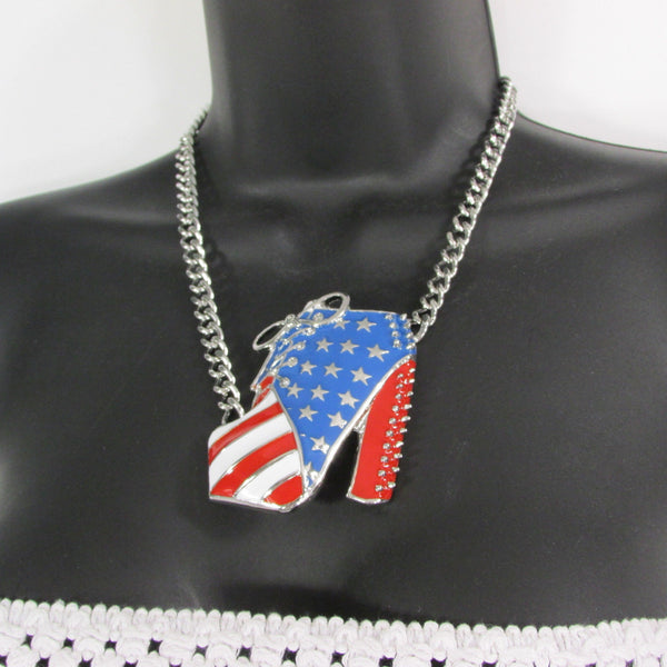 Large Metal High Heels Shoes Pendant Fashion Chains Gold / Silver Rhinestones American Flag USA Stars Necklace + Earrings Set - alwaystyle4you - 16