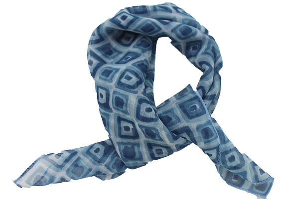 Green Blue Small Neck Scarf Fabric Geometric Square Print Pocket Square New Women Fashion - alwaystyle4you - 11