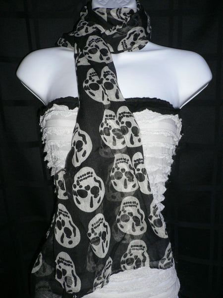 New Women Black Scarf Gray Beautiful Skulls Skeleton Drawing Soft 100% Polyester - alwaystyle4you - 11