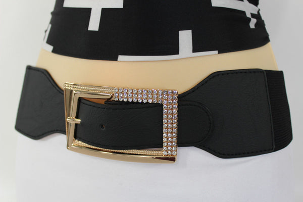 Black / Red / White / Brown Faux Leather Tie Hip Waist Belt Square Gold Rhinestones Buckle New Women Fashion Accessories M L - alwaystyle4you - 10