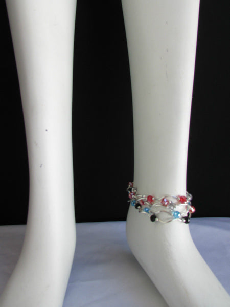 5 Elastic Row Strands Anklets Black Blue Silver Red Beads New Women Fashion Jewelry - alwaystyle4you - 4