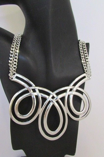 Gold / Silver Twisted 3 Drops Chain Necklace + Earring Set New Women Chunky Fashion - alwaystyle4you - 11