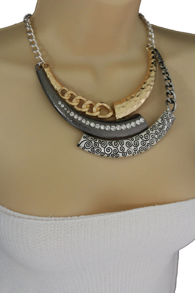 Gold Black / Silver Black Metal Plate Half Moon Necklace Chains + Earrings Set New Women Fashion Jewelry - alwaystyle4you - 11
