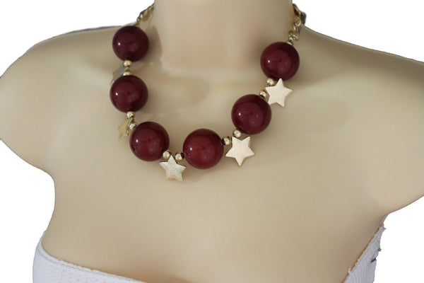 Black / Silver / Gold / Red / White Metal Stars Ball Beads Short Ivory Necklace + Earring Set New Women Fashion Jewelry - alwaystyle4you - 38