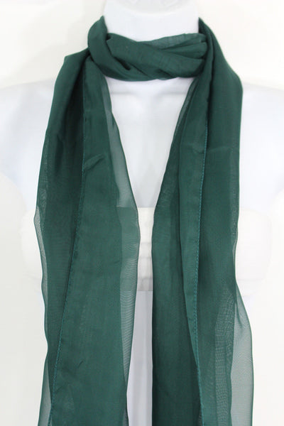 Dark Brown Dark Green Dark Blue Brown Neck Scarf Long Soft Sheer Fabric Tie Wrap Classic New Women Fashion - alwaystyle4you - 11