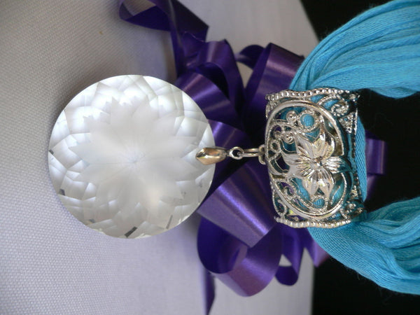 Light Blue Necklac Scarf Big Silver Crystal Flower Pendant Glass New Women Fashion - alwaystyle4you - 2