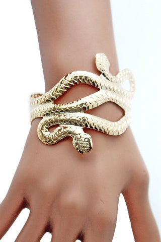 Gold / Silver Metal Cuff Bracelet Cobra Snake Trendy Wrap Around New Women Fashion Jewelry Accessories - alwaystyle4you - 1