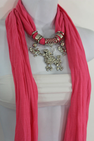 Blue, Black, L. Pink, Pink Fuscia Soft Fabric Scarf Silver Metal Poodle Dog Pendant New Women Fashion - alwaystyle4you - 21