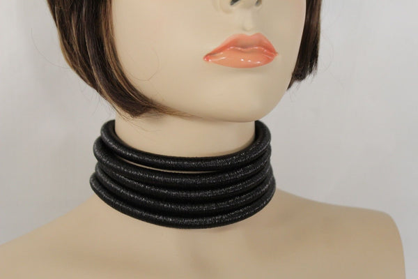 Black Short Fabric Wide 5 Strands Sexy Choker Necklace Earring Set New Women Fashion Accessories
