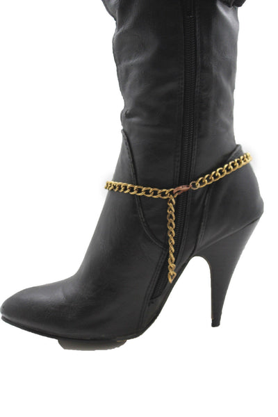 Gold Metal Boot Chain Bracelet Fat Buddha India Anklet Bohemian Shoe Charm New Women - alwaystyle4you - 2