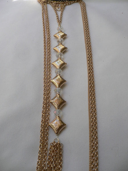 New Women Gold Square Clear Beads Long Metal Body Chain Moroccan Fashion Jewelry - alwaystyle4you - 11