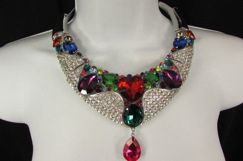 Silver Metal Multicolor Alloy Charm Bib Necklace New Women Fashion Jewelry - alwaystyle4you - 1