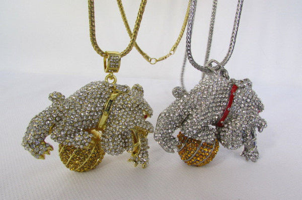 Gold / Silver Metal Chains Long Necklace Large Bulldog Ball New Men Style Fashion - alwaystyle4you - 17