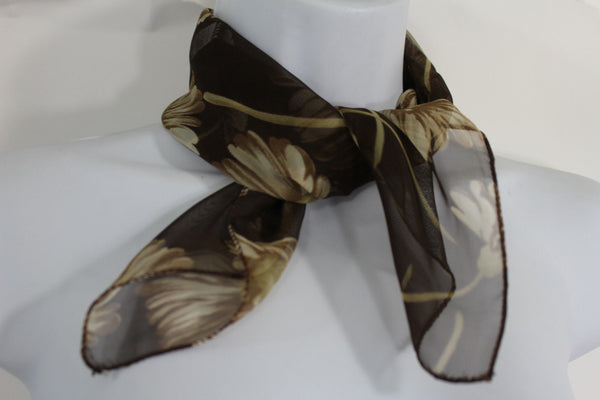 Dark Green Brown Small Neck Soft Scarf Fabric White Flower Pocket Square New Women Fashion - alwaystyle4you - 11