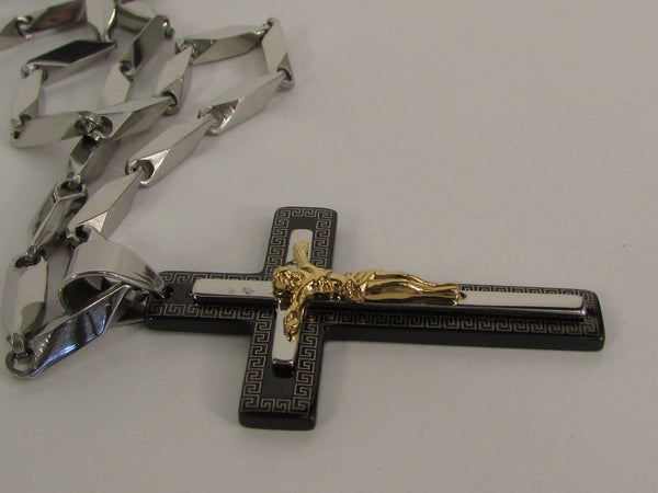 Black Silver Or Gold Cross Pendant New Men Silver Stainless Steel Jesus Christ Metal Chain Necklace - alwaystyle4you - 12