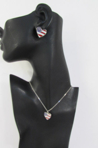 USA American Flag Star/Square/Heart Silver Metal Necklace + Matching Earring Set New Women - alwaystyle4you - 17