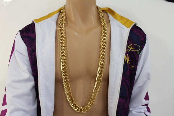 Gold Metal Chain Links Extra Long Necklace New Men Chunky Gangster Hip Hop Biker Fashion - alwaystyle4you - 8