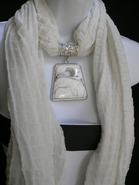 New Women Accessories White Poofy Soft Fashion Scarf Necklace Big Square Bead Pendant - alwaystyle4you - 1