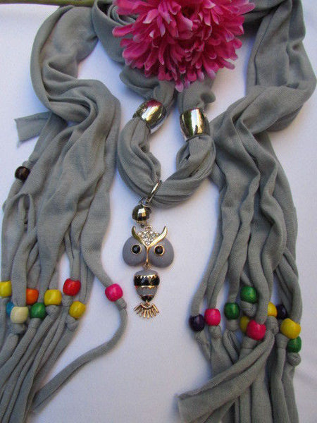 Black, Blue, Beige, Gray, White Soft Scarf Long Necklace Multicolors Wood Beads Owl Pendant New Women Fashion Accessory - alwaystyle4you - 11