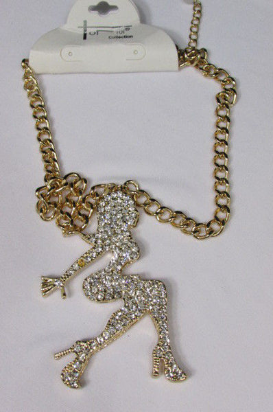 Gold Metal Chains Fashion Necklace Big Silver Rhinestone Sexy woman Shape Pendant New Men Fashion - alwaystyle4you - 12