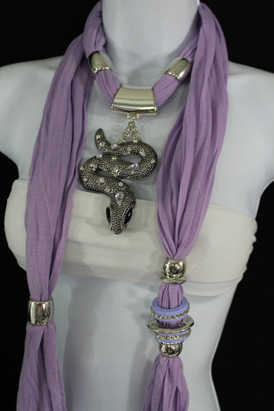Women Lavender Fashion Scarf Fabric Silver Metal Snake Pendant Necklace Lilac - alwaystyle4you - 11