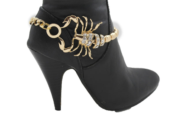 Gold Metal Chains New Women Western Fashion Boot Bracelet Scorpion Anklet Bling Shoe Charm - alwaystyle4you - 7