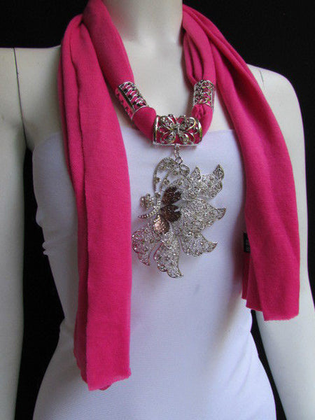 Pink Blue Black Brown Bright Coral Soft Fabric Scarf Long Necklace Big Silver Butterfly Pendant New Women Fashion - alwaystyle4you - 12