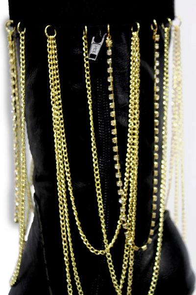 Gold Metal Boot Bracelet Chain Long Drop Bling Anklet Elastic Band New Women Western Hot Accessories - alwaystyle4you - 11