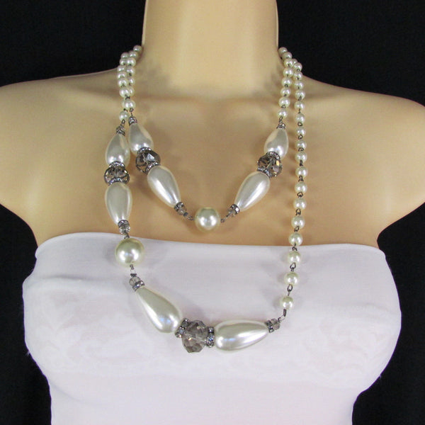 Long Imitations Pearls Necklace Small Gray Beads Beige Silver Color + Earrings Set New Women Fashion - alwaystyle4you - 11