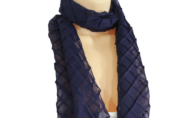 Blue Purple Green Red White Brown New Women Fashion Long Neck Scarf Soft Fabric Tie Wrap Geometric Mosaic Plaid - alwaystyle4you - 11
