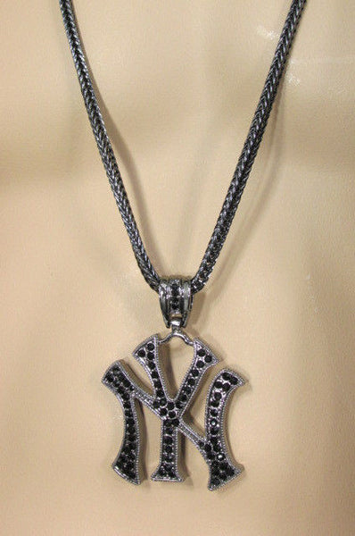 Black-Pewter Long Metal Chains 3D NY Rhinestones Pendant New Men Fashion Necklace - alwaystyle4you - 11