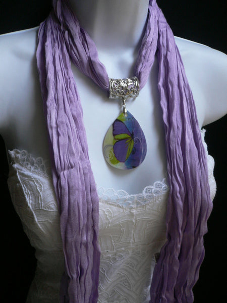 Lavander Scarf Necklace Big Seashell Pendant Purple Butterfly New Women Fashion - alwaystyle4you - 11