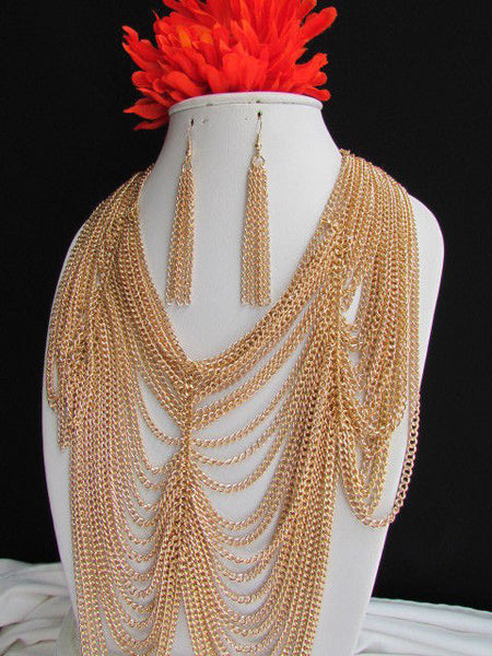 Long Gold / Silver Two Elegant Necklaces + Earring Set Thin Links New Women Fashion Jewelry - alwaystyle4you - 12