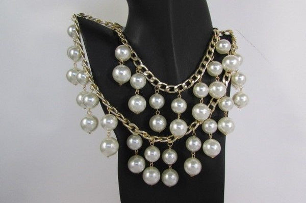 Gold Metal Long Double Chains 2 Strands Big Pearl Beads New Women - alwaystyle4you - 9