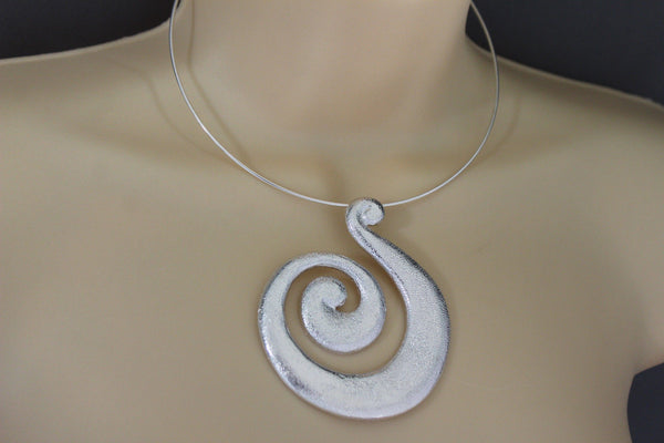 Silver / Pewter Black Choker Thin Metal Snail Spin Swirl Charm Necklace + Earrings Set New Women Fashion Jewelry - alwaystyle4you - 11