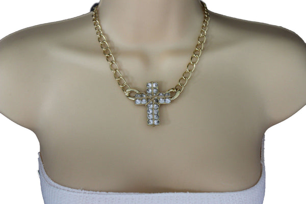 Short Gold / Silver Metal Chains Cross Pendant Necklace + Earring Set New Women Fashion Jewelry - alwaystyle4you - 12